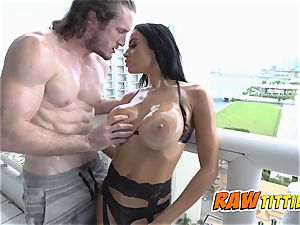 Victoria is lubricated up and screwed in doggie by super-naughty fella