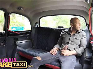 woman fake cab large ebony schlong internal cumshot