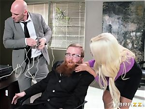 Bank robbing stunner Bridgette B romps in front of the manager