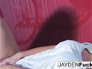 Jayden Jaymes Gets crazy Against a crimson Wall