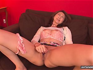 asian cougar has a fuckfest plaything session with her puss