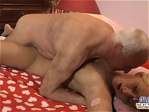 grandfather penetrates nubile wondrous nymphomaniac She drinks spunk