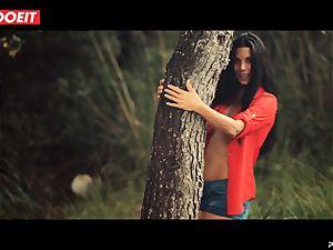 LETSDOEIT - crazy dark haired Caught Running in the woods