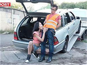 LETSDOEIT - nubile boinks elder guy For Free Car Repair