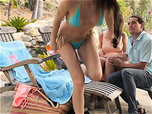 The Getaway Pt trio displaying beautiful lesbians Dillion Harper and Charlotte Stokely