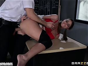 Policeman punishes wild schoolgirl on the table