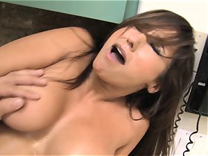 cramming salami deep into red-hot coochie of stepmom Reena Sky on the kitchen counter
