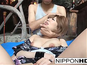 japanese honey is taunted with frigs and jizz-shotguns