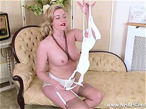 towheaded milf undresses off retro lingerie ravages yummy labia