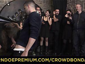CROWD restrain bondage - extreme bondage & discipline screw wheel with Tina Kay