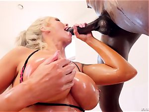 super-naughty luxurious cougar Nina Elle with phat hooters gives deep-throat job and titfucked