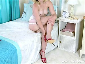 light-haired cootchie have fun in vintage bra garter sheer nylons