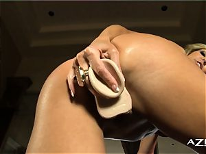 towheaded cougar deep-throats fake penis and fills herself up