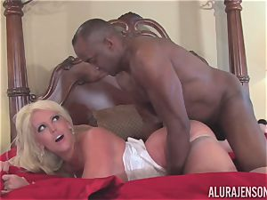 Alura Jenson gets her pretty facehole filled with rock hard black hard-on