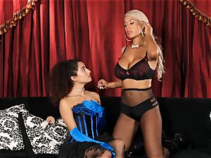 Bridgette B puts super-steamy assistant Lana Lovelace thru her paces