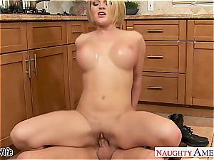 chesty wifey Krissy Lynn tonguing cum in the kitchen