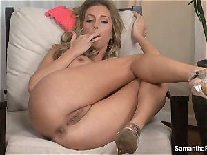 big-titted towheaded Samantha Saint fingers her gash