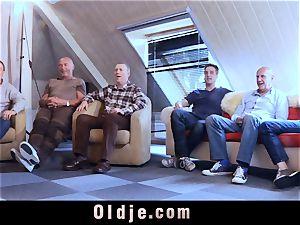 6 oldman boning in gang a super-sexy sizzling platinum-blonde