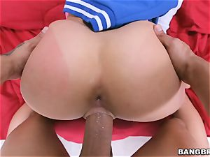 enormous booty brown-haired Ashley Adams railing in switch roles cowgirl