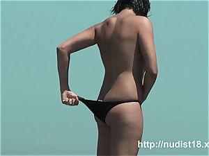 naturist beach two spectacular brunettes