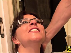 domination & submission brit Amber spills before facial cumshot predominance