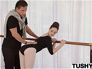 TUSHY youthfull Ballerina inspects anal hump with instructor
