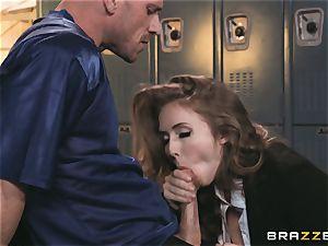 buxom news reporter Lena Paul torn up in the locker room
