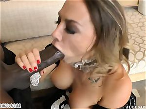 30-year-old maid in uniform takes dark-hued trunk in her booty
