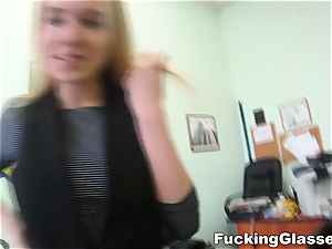 romping Glasses Chloe Blue tearing up job interview