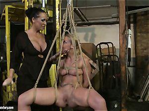 Kathia Nobili and Mandy Bright fake penis boning rigid