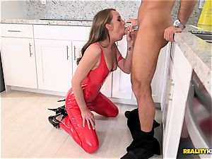 Aria Xcite humped deep in her fuckbox pie with her magnificent crimson spandex suit on