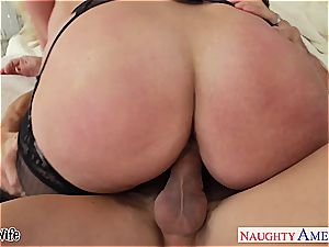 huge-titted blondie wife Alura Jenson gives breast fucking