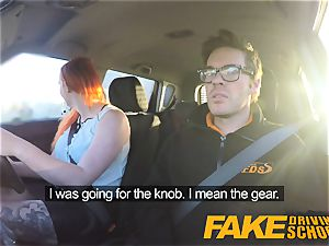 fake Driving college tatted ginger-haired hankers a hefty beef whistle