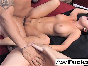 Asa and Dana crew up for a steaming three way with Derrick