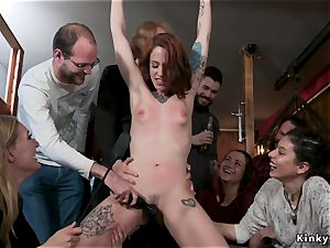 Alt sandy-haired porked in group in public