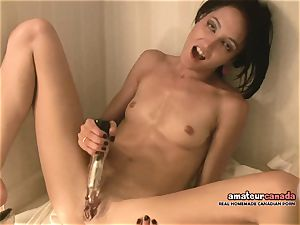 thin French chick with little bosoms ejaculates using ben
