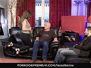 LA COCHONNE - hardcore double penetration 3 way hookup for buxom babe