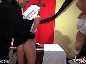 insatiable nuns Jessica Jaymes and Nikki Benz pleasing gods fantasies