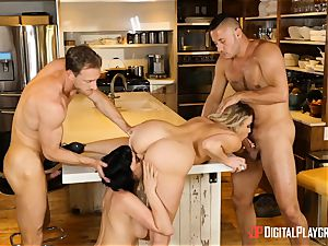 Mia Malkova and Olive Glass pussy poked in the kitchen