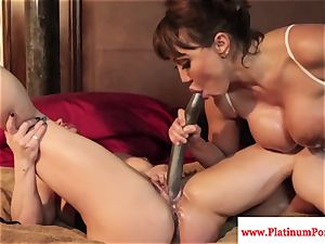 Ava Devine and Brandi May have fun with their lezzy playthings
