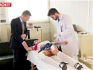 schoolgirl gets abused hardcore by tutor and medic