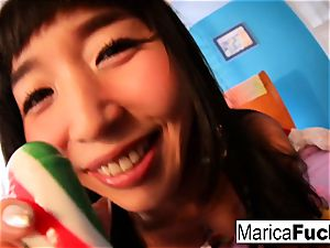 Marica plays with candy man-meat